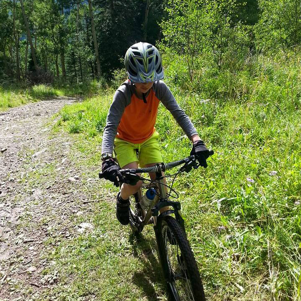 Family mountain biking in Rico, Colorado